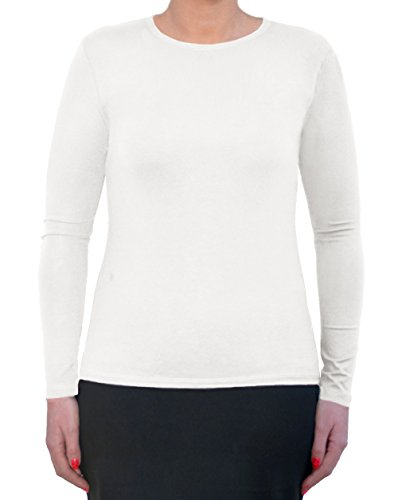 Kosher Casual Women's Modest Long Sleeve Crew Neck Layering Top XXL White