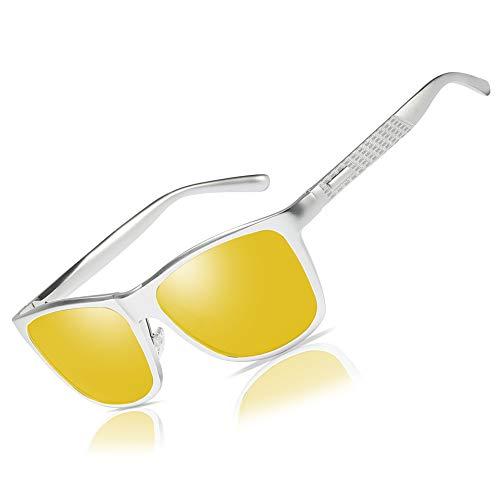 (Bircen HD Night Vision Driving Anti-Glare Glasses for Men Women Al-Mg Metal Frame Rainy SafePolarized Fashion Sun glasses (Silver frame Nightlens))