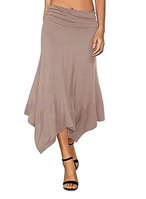 Arolina Women Flowy Handkerchief Skirt Elastic Waist Pleated Flare Midi Skirts