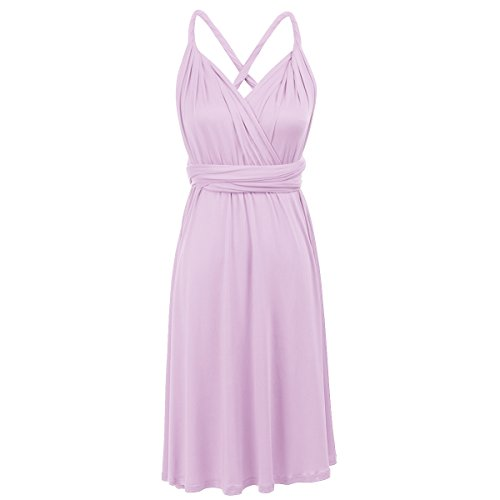 ng Bridesmaid Formal Cocktail Wedding Party Sleeveless Backless Convertible Multi Way Wrap Short Dress Short Lilac M ()