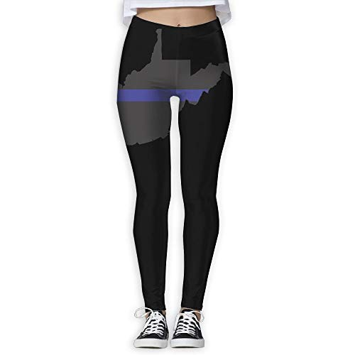 (QQMIMIG West Virginia Tattered Thin Blue Line Flag Female Full Length Wire-Free Pants Leggings)