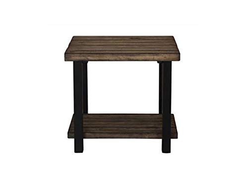 Scott Living 705677 Summerland Planked Top End Table, Rustic Brown and Black