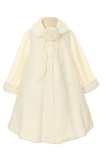 Cozy Fleece Long Sleeve Cape Jacket Coat - Ivory Girl 10 ...