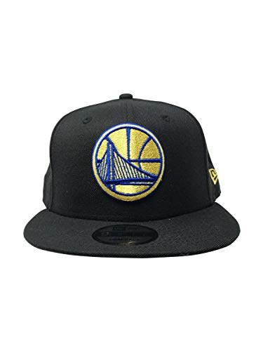 New Era Golden State Warriors Adjustable Snapback Hat 9Fifty NBA Basketball Straight Brim Baseball Cap (One Size, Black/Gold)