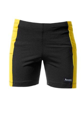 Polypropylene 20 Pockets - Aeroskin Polypropylene Swim Shorts with Color Side Stripes and Side Pocket (Black/Yellow, XX-Large)