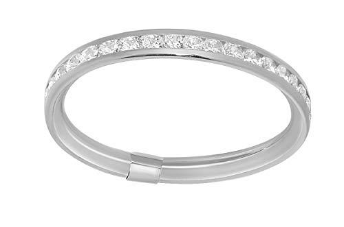 Precious Stars Jewelry 14k White Gold Channel-Set Round-Cut Cubic Zirconia Thin Eternity Band from Precious Stars Jewelry