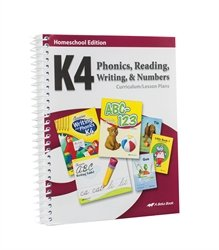 Homeschool K4 Phonics, Reading, Writing and Numbers Curriculum Lesson Plans