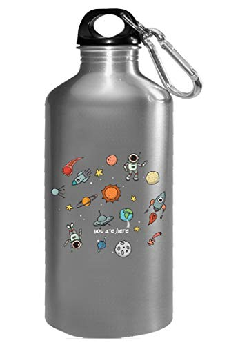 Funny Solar System - Space Ship Rocket - Sun - Water Bottle by Stuch Strength LLC
