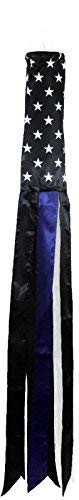 Best Flags USA Thin Blue LINE Super Shiny Poly WINDSOCK