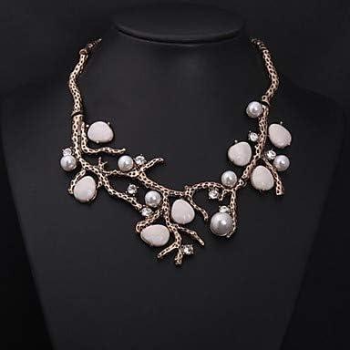 Diamante sintético Collar con Perlas Importante Vintage Fiesta Piedras Preciosas sintéticas Perla Diamante Sintético Blanco Gargantillas Joyas