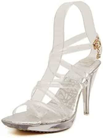 5d7063afe2 Summer Transparent Crystal Fetish SM Shoes Woman 10 cm Thin High Heels Open  Toe Sexy Sandals
