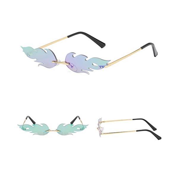 Occhiali da Sole da Donna – Occhiali da Sole a Forma di Fiamma Creativa Occhiali da Vista da Uomo in Metallo da Donna, Occhiali da Sole Stile Punk Vintage di Moda