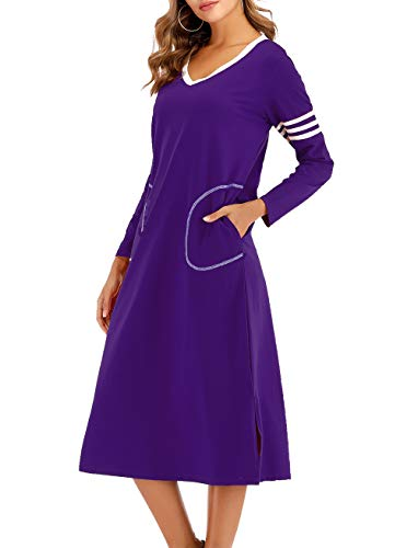 AOVXO Long Nightgown Womens V Neck Long Sleeve Nightshirt Ultra-Soft Cotton Fabric Split Hem Design with 2 Side Deep Pockets (Purple, XL)