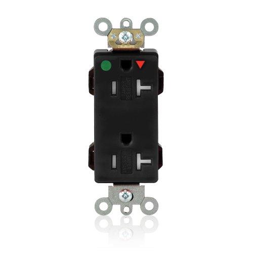 Leviton MDT83-IGE Lev-Lok Tamper-Resistant, Hospital Grade, Isolated Ground, Lev-Lok 20-Amp, 125 Volt, 2P, 3W, Modular Wiring Device Decora Duplex Receptacle, Black ()
