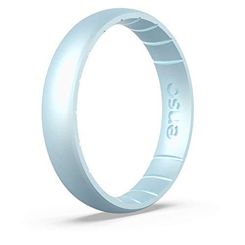 Enso Rings Thin Birthstone Silicone Ring | Made in The USA | Lifetime Quality Guarantee | Comfortable, Breathable, and Safe (Diamond, 6)