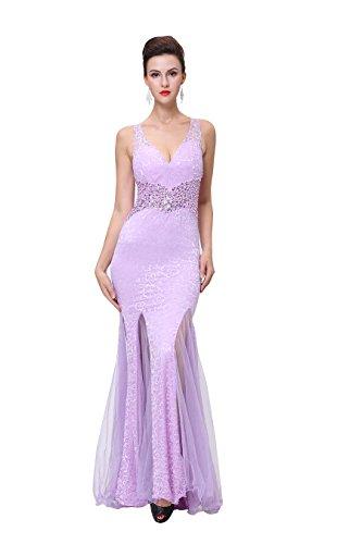 Emily Abendkleid Bodycon Rückenfrei Nixe tiefem V Spitze mit Ausschnitt Beauty Violett Ohne Arm AdBwPTA