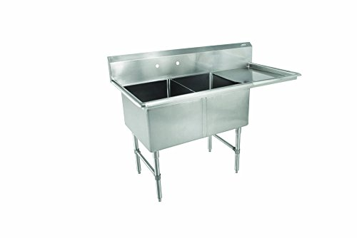 John Boos 2B184-1D18R B Series 2 Compartment Stainless Steel Sink, 18'' Right Hand Drain Board, 18'' x 18'' x 14'' Bowl by John Boos