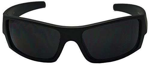 Men Limited Edition Super Dark Shades Wrap Around Motorcycle Biker Sunglasses (Matte Black, Black)