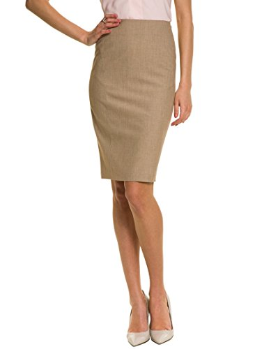 LE CHÂTEAU Crosshatch Fitted Pencil Skirt,14,Tan ()