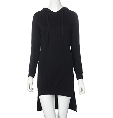Sunfei ®Women Sweatshirt Dress Double Split Hoodie Pullover Pockets Sweater (S, Black)