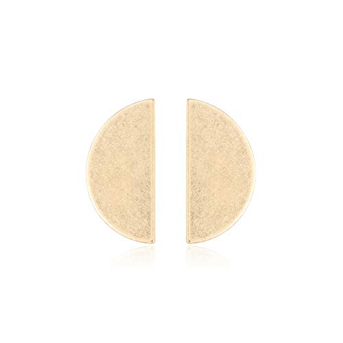 RIAH FASHION Simple Geometric Stud Earrings - Round Disc, Oval, Half Circle Metallic/Sparkly Glitter Faceted Jewel/Animal Print Button Studs Set (Metallic - Half Circle)