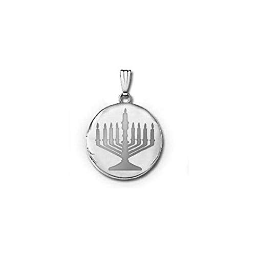 PicturesOnGold.com 14k White Gold Menorah Round Locket 3/4 in X 3/4 in