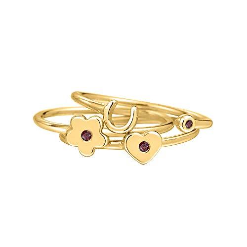 RUDRAFASHION 14K Yellow Gold Red Garnet Heart-Flower-Lucky-Horse Shoe-Midi-Ring 925 Sterling Silver for Women's