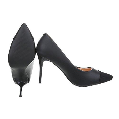 Ital-Design High Heel Pumps Damenschuhe Pfennig-/Stilettoabsatz Heels Schwarz NT001