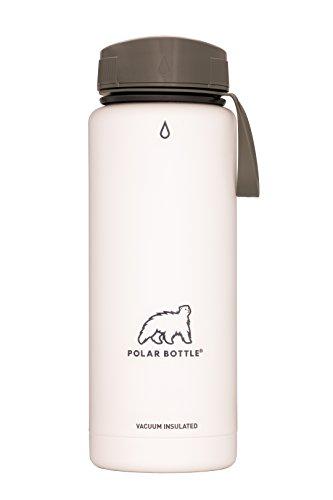 Polar Bottle Thermaluxe - Vacuum Insulated Stainless Steel Travel Mug, White Powder Coat {Half-Twist Cap - Olive} 21 oz.