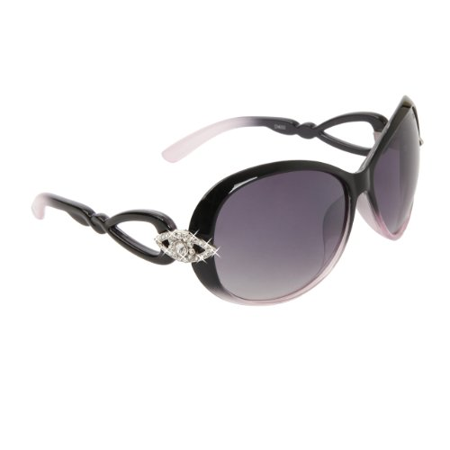 DIAMOND EYEWEAR NEW RHINESTONE SUNGLASSES UNIQUE COLORS - DUOTONE GLOSS BLACK & TRANSPARENT - Unique Wholesale Sunglasses