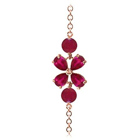 QP joailliers Rubis Naturel Bracelet en or rose 9carats, 3.15CT Coupe Poire-5066r