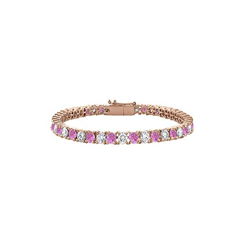 Created Pink Sapphire Tennis Bracelet with CZ 10 CT TGW on 14K Rose Gold Vermeil. 7 Inch ()