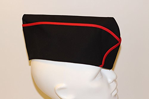 Black and Red Military Garrison Hat Wedge Cap