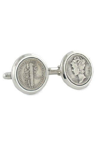 David Donahue Sterling Silver Mercury Dime Cufflinks (H95073202) ()