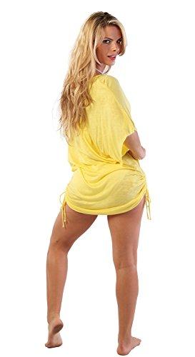 Ingear playa vestido de verano Casual Cover Up Fashion Chic blusa fabricado en EE. UU. Amarillo