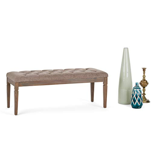 Simpli Home 3AXCOT-250-BRL Waverly 48 inch Wide Traditional Rectangle Tufted Ottoman Bench in Fawn Brown Linen Look Fabric