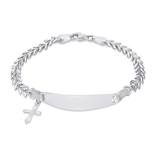 14k White Gold Engravable ID V-Shape Link Bracelet with Religious Cross Charm, 5.5