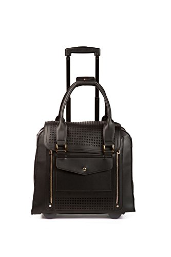 Hang Accessories Zadie Perforated Black Rolling Trolley Bag by Hang Accessories
