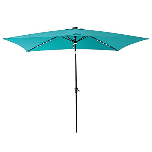 C-Hopetree Rectangular Solar Lighted Outdoor Patio Market Umbrella with LED Lights 66 x 10 for Deck Table or Garden, Blue