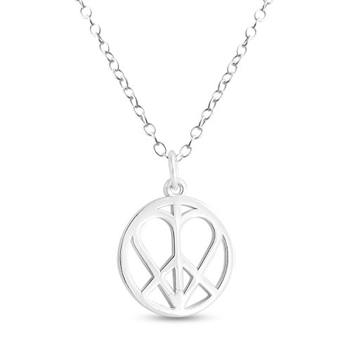 Azaggi Sterling Silver Handcrafted Heart in Peace Sign Hippie Love Pendant Necklace (24)
