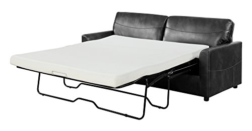 (Emerald Home Slumber Black Sleeper Sofa with Faux Leather Upholstery And Gel Foam Mattress)