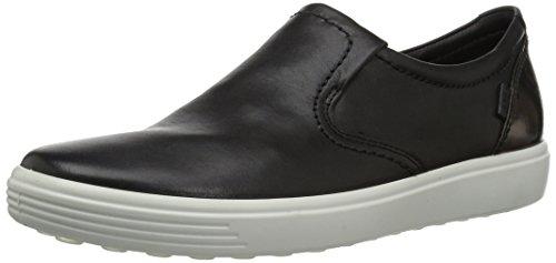 7 Black Leather (ECCO Women's Women's Soft 7 Slip On Fashion Sneaker, Black/Black/Dark Clay, 37 EU/6-6.5 M US)
