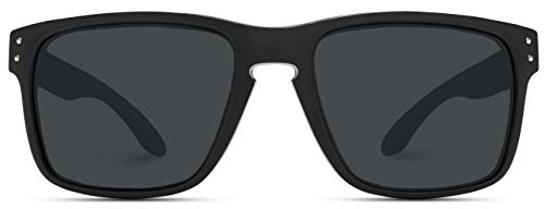 WearMe Pro - Premium Polarized Mirror Lens Classic Style Sunglasses (Black, 53)
