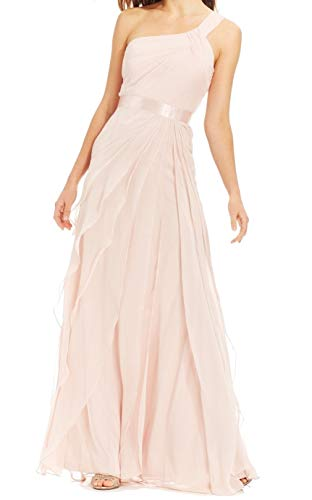 Adrianna Papell Womens Tiered One Shoulder Gown Dress Pinks