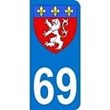 Autocollant 69 avec blason Lyon plaque immatriculation Moto (6,3 x 2,9 cm)