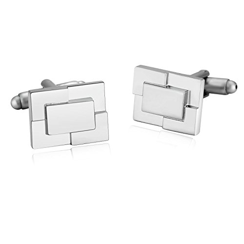 Aooaz Mens Stainless Steel Cufflinks Silver Brushed Rectangle Convex Block Shirt 1.7X1.3Cm [Gift - Cufflinks Brushed Rectangle Silver