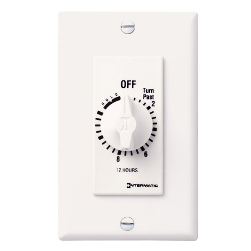 Intermatic FD12HHW 12-Hour Spring-Loaded In-Wall Timer Switch for Auto-Off control of Fans and Lights with Hold, (Retro Fan Heater)
