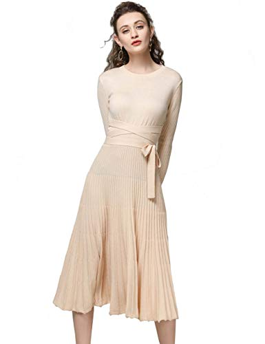 Sweater Dress Spring Autumn Cashmere Belt Fitted Vintage Boho Pleated Midi Style Maxi Dresses (Beige, ()