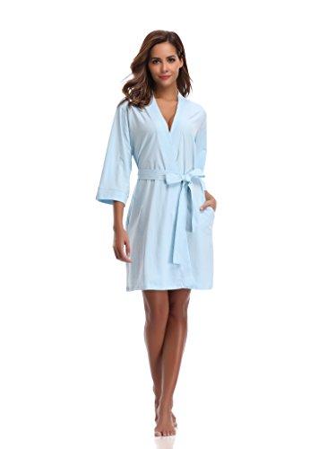 Luvrobes Women's Cotton Knit Kimono Robe (L, Pale Blue)