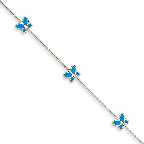 (14k White Gold Blue Enameled Butterfly Anklet Ankle Beach Chain Bracelet Fine Jewelry Gifts For Women For Her)